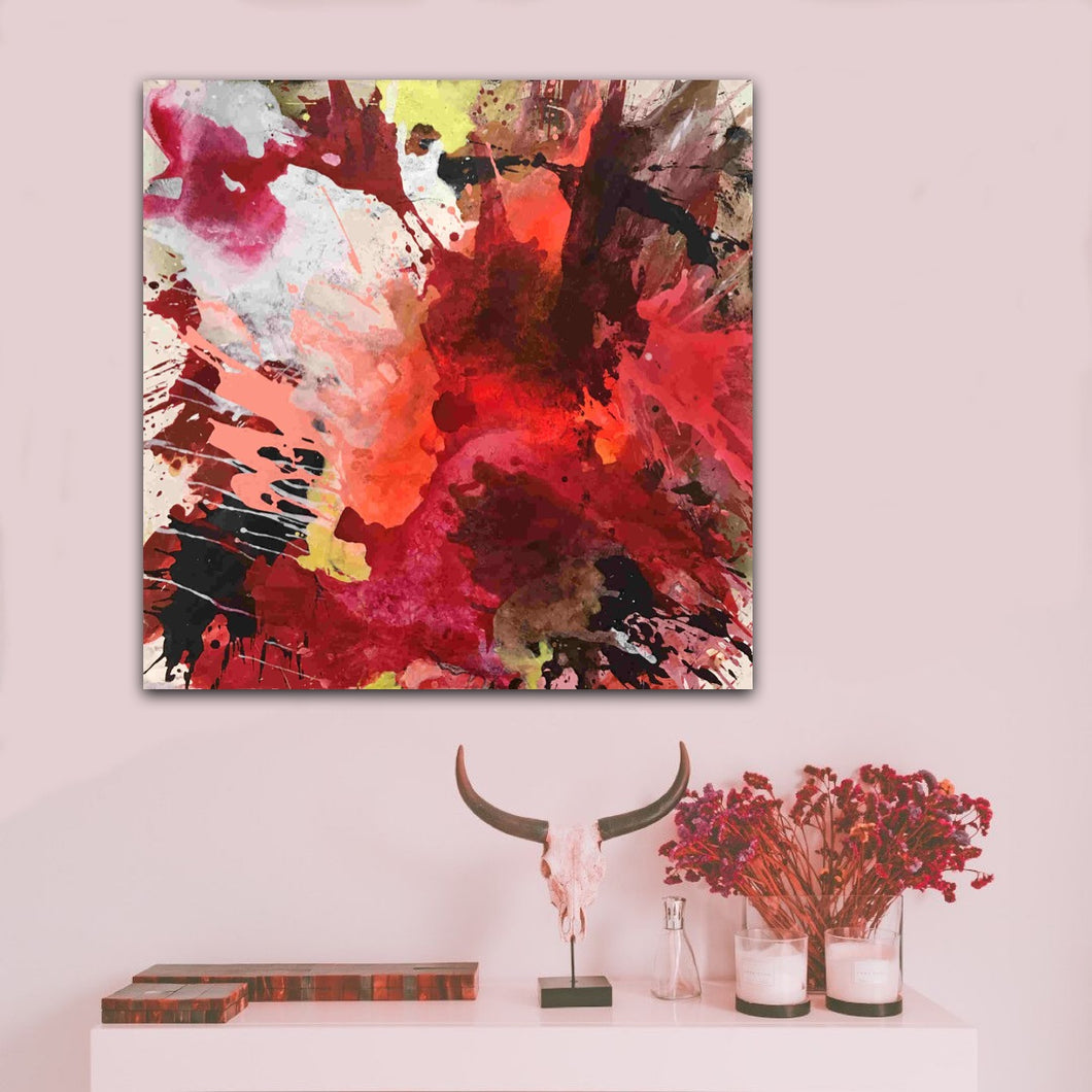 Abstract expressionist art on a pink colored wall with red home decor accessories - modern artwork
