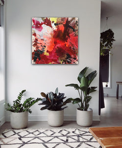 "Abstract expressionist art in the entrance hall of a modern home with plants - modern artwork ""The heat is on II"". A modern acrylic painting by abstract artist Anja Stemmer. Visit my Picture Shop for affordable art online: Buy abstract paintings, modern acrylic paintings and works of abstract art on canvas or paper online. My high quality abstract art designs are hand painted."