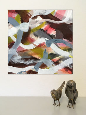 Abstract expressionist art , square acrylic painting with two small bird sculptures - modern artwork