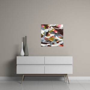 "Abstract expressionist art over a contemporary white sideboard with two vases  - modern artwork ""Unseen Landscape II"". A modern acrylic painting by abstract artist Anja Stemmer. Visit my Picture Shop for affordable art online: Buy abstract paintings, modern acrylic paintings and works of abstract art on canvas or paper online. My high quality abstract art designs are hand painted."