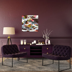"Abstract expressionist art on a colored wall in mauve color - modern artwork ""Unseen Landscape II"". A modern acrylic painting by abstract artist Anja Stemmer. Visit my Picture Shop for affordable art online: Buy abstract paintings, modern acrylic paintings and works of abstract art on canvas or paper online. My high quality abstract art designs are hand painted."