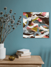 "Load image into Gallery viewer, Abstract expressionist art on a turquoise teal colored wall over a kitchen table  - modern artwork ""Unseen Landscape II"". A modern acrylic painting by abstract artist Anja Stemmer. Visit my Picture Shop for affordable art online: Buy abstract paintings, modern acrylic paintings and works of abstract art on canvas or paper online. My high quality abstract art designs are hand painted."