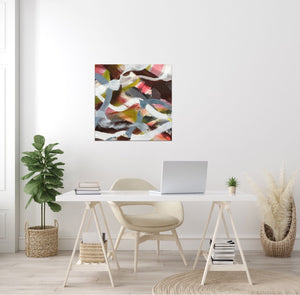 "Abstract expressionist art in a lady's home office - modern artwork ""Unseen Landscape II"". A modern acrylic painting by abstract artist Anja Stemmer. Visit my Picture Shop for affordable art online: Buy abstract paintings, modern acrylic paintings and works of abstract art on canvas or paper online. My high quality abstract art designs are hand painted."