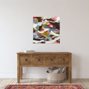 "Abstract expressionist art over a wooden sideboard  - modern artwork ""Unseen Landscape II"". A modern acrylic painting by abstract artist Anja Stemmer. Visit my Picture Shop for affordable art online: Buy abstract paintings, modern acrylic paintings and works of abstract art on canvas or paper online. My high quality abstract art designs are hand painted."