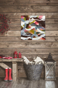"Abstract expressionist art in Christmas decoration on a wooden wall  - modern artwork ""Unseen Landscape II"". A modern acrylic painting by abstract artist Anja Stemmer. Visit my Picture Shop for affordable art online: Buy abstract paintings, modern acrylic paintings and works of abstract art on canvas or paper online. My high quality abstract art designs are hand painted."