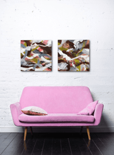 "Load image into Gallery viewer, Abstract expressionist art over a pink sofa - modern artwork ""Unseen Landscape I & II"". A modern acrylic painting by abstract artist Anja Stemmer. Visit my Picture Shop for affordable art online: Buy abstract paintings, modern acrylic paintings and works of abstract art on canvas or paper online. My high quality abstract art designs are hand painted."