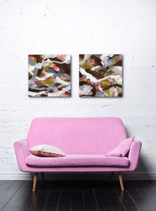 "Abstract expressionist art over a pink sofa - modern artwork ""Unseen Landscape I & II"". A modern acrylic painting by abstract artist Anja Stemmer. Visit my Picture Shop for affordable art online: Buy abstract paintings, modern acrylic paintings and works of abstract art on canvas or paper online. My high quality abstract art designs are hand painted."