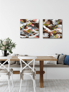 "Abstract expressionist art in a living room or dining room - modern artwork ""Unseen Landscape I and II"". A modern acrylic painting by abstract artist Anja Stemmer. Visit my Picture Shop for affordable art online: Buy abstract paintings, modern acrylic paintings and works of abstract art on canvas or paper online. My high quality abstract art designs are hand painted."