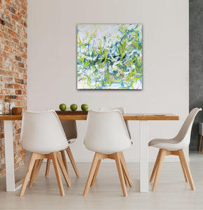 "Abstract expressionist art in a dining room above a table with 5 modern white chairs an  a brick wall- modern artwork ""Hanging plants"". A modern acrylic painting by abstract artist Anja Stemmer. Visit my Picture Shop for affordable art online: Buy abstract paintings, modern acrylic paintings and works of abstract art on canvas or paper online. My high quality abstract art designs are hand painted."