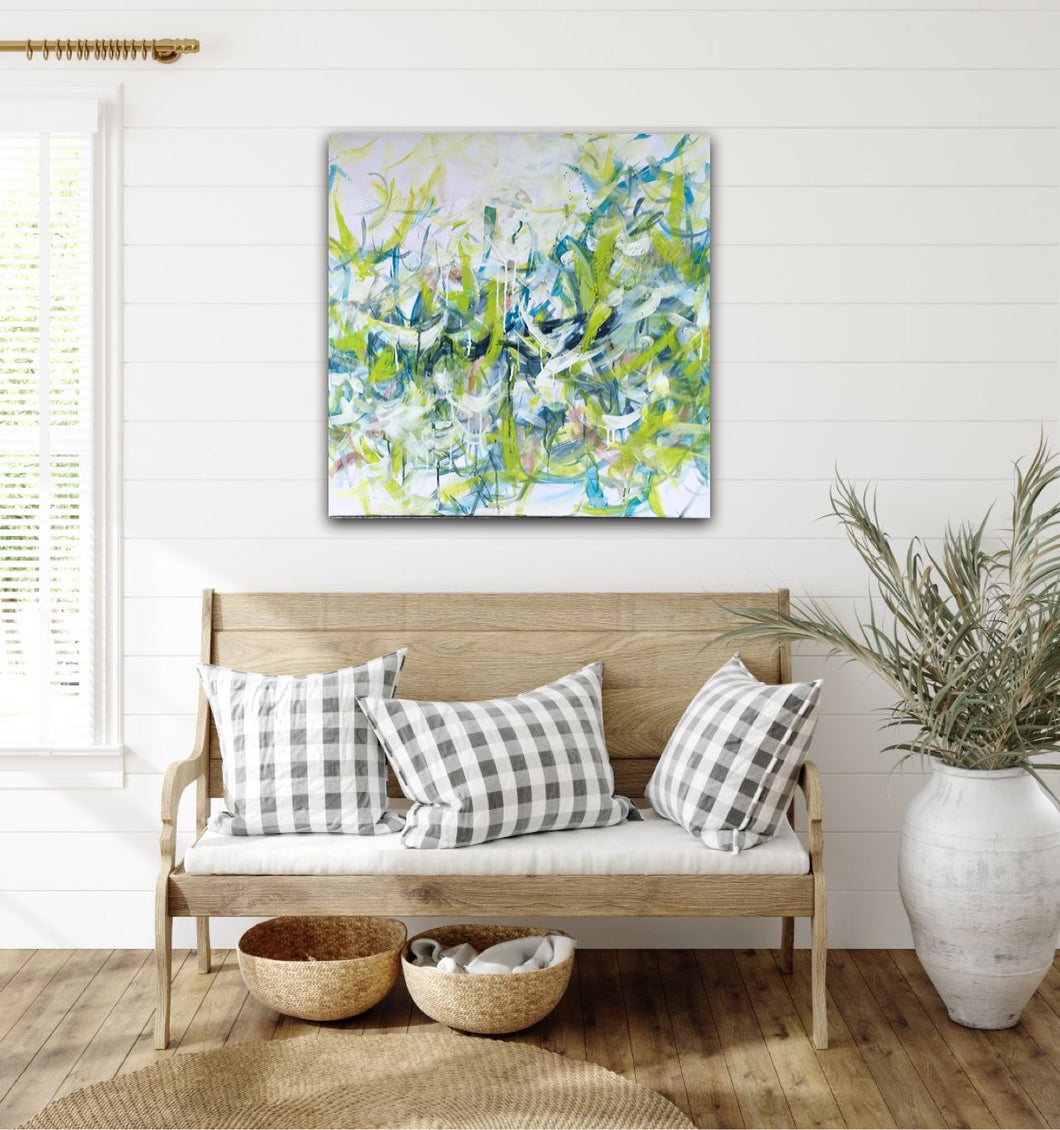 Abstract expressionist art above a bench in a nordic design or landhouse style interior- modern artwork