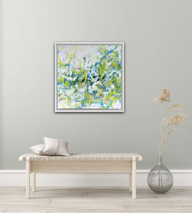 "Abstract expressionist art in an relaxation room, artwork is framed in white- modern artwork ""Hanging plants"". A modern acrylic painting by abstract artist Anja Stemmer. Visit my Picture Shop for affordable art online: Buy abstract paintings, modern acrylic paintings and works of abstract art on canvas or paper online. My high quality abstract art designs are hand painted."