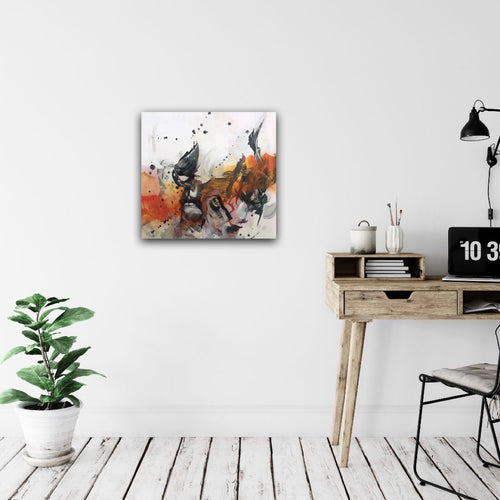 Abstract expressionist art in a home office or corner office setting - modern artwork