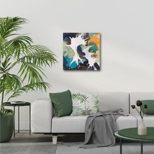 "Load image into Gallery viewer, Abstract expressionist art in a modern design living room- modern artwork ""In Twos"". A modern acrylic painting by abstract artist Anja Stemmer. Visit my Picture Shop for affordable art online: Buy abstract paintings, modern acrylic paintings and works of abstract art on canvas or paper online. My high quality abstract art designs are hand painted."