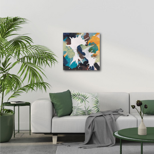 "Abstract expressionist art in a modern design living room- modern artwork ""In Twos"". A modern acrylic painting by abstract artist Anja Stemmer. Visit my Picture Shop for affordable art online: Buy abstract paintings, modern acrylic paintings and works of abstract art on canvas or paper online. My high quality abstract art designs are hand painted."