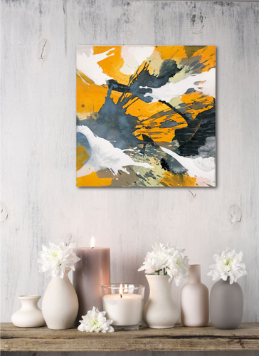 Abstract expressionist art in a romantic setting with candles - modern artwork