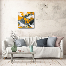 "Load image into Gallery viewer, Abstract expressionist art over a cozy BoHo style white sofa- modern artwork ""Stormy"". A modern acrylic painting by abstract artist Anja Stemmer. Visit my Picture Shop for affordable art online: Buy abstract paintings, modern acrylic paintings and works of abstract art on canvas or paper online. My high quality abstract art designs are hand painted."