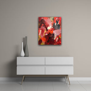 "Abstract expressionist art on a soft colored wall over a white sideboard with two vases - modern artwork  ""Red symphony"". A modern acrylic painting by abstract artist Anja Stemmer. Visit my Picture Shop for affordable art online: Buy abstract paintings, modern acrylic paintings and works of abstract art on canvas or paper online. My high quality abstract art designs are hand painted."