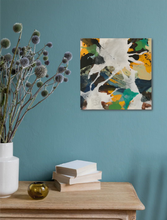 "Load image into Gallery viewer, Abstract expressionist art on a dark turquoise colored wall over a kitchen table with plants - modern artwork ""Hidden"". A modern acrylic painting by abstract artist Anja Stemmer. Visit my Picture Shop for affordable art online: Buy abstract paintings, modern acrylic paintings and works of abstract art on canvas or paper online. My high quality abstract art designs are hand painted."