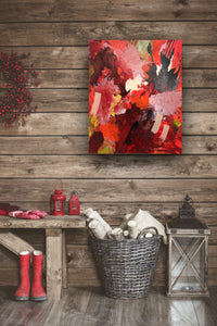 "Abstract expressionist art on a wooden wall with Christmas decoration- modern artwork  ""Red symphony"". A modern acrylic painting by abstract artist Anja Stemmer. Visit my Picture Shop for affordable art online: Buy abstract paintings, modern acrylic paintings and works of abstract art on canvas or paper online. My high quality abstract art designs are hand painted."