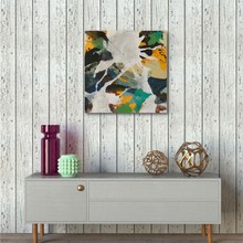 "Load image into Gallery viewer, Abstract expressionist art over a contemporary low sideboard in shabby shic interior homedecor- modern artwork ""Hidden"". A modern acrylic painting by abstract artist Anja Stemmer. Visit my Picture Shop for affordable art online: Buy abstract paintings, modern acrylic paintings and works of abstract art on canvas or paper online. My high quality abstract art designs are hand painted."