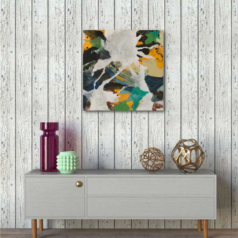 Abstract expressionist art over a contemporary low sideboard in shabby shic interior homedecor- modern artwork