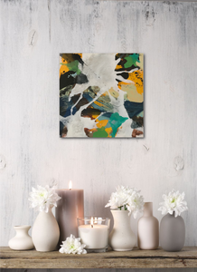 "Abstract expressionist art with romantic candles- modern artwork ""Hidden"". A modern acrylic painting by abstract artist Anja Stemmer. Visit my Picture Shop for affordable art online: Buy abstract paintings, modern acrylic paintings and works of abstract art on canvas or paper online. My high quality abstract art designs are hand painted."