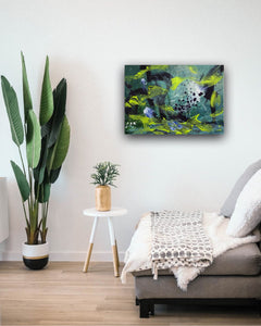 "Abstract expressionist art in a contemporary appartment  - modern artwork. ""Under Water"" A modern acrylic painting by abstract artist Anja Stemmer. Visit my Picture Shop for affordable art online: Buy abstract paintings, modern acrylic paintings and works of abstract art on canvas or paper online. My high quality abstract art designs are hand painted."