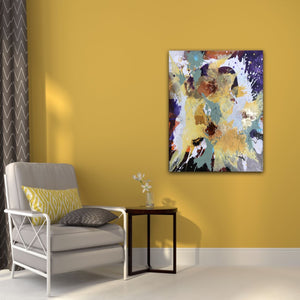 "Abstract expressionist art on a yellow colored wall in a living room with armchair - modern artwork ""Harlequin"". A modern acrylic painting by abstract artist Anja Stemmer. Visit my Picture Shop for affordable art online: Buy abstract paintings, modern acrylic paintings and works of abstract art on canvas or paper online. My high quality abstract art designs are hand painted."