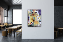"Load image into Gallery viewer, Abstract expressionist art in a canteen - modern artwork ""Harlequin"". A modern acrylic painting by abstract artist Anja Stemmer. Visit my Picture Shop for affordable art online: Buy abstract paintings, modern acrylic paintings and works of abstract art on canvas or paper online. My high quality abstract art designs are hand painted."