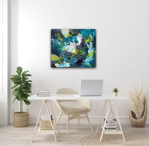 "Abstract expressionist artwork ""Aquamarine"" at a female home office desk in light colors - modern artwork. A modern acrylic painting by abstract artist Anja Stemmer. Visit my Picture Shop for affordable art online: Buy abstract paintings, modern acrylic paintings and works of abstract art on canvas or paper online. My high quality abstract art designs are hand painted."