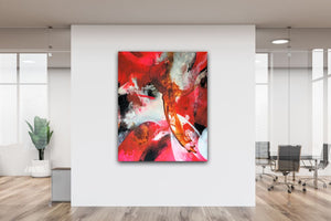 "Large colorful abstract expressionist art in a design office area- modern artwork ""El Toro"". A modern acrylic painting by abstract artist Anja Stemmer. Visit my Picture Shop for affordable art online: Buy abstract paintings, modern acrylic paintings and works of abstract art on canvas or paper online. My high quality abstract art designs are hand painted."