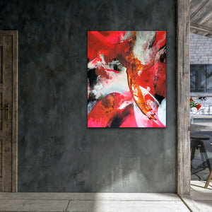 "Abstract expressionist art on a dark grey colored wall next to a ktichen- modern artwork ""El Toro"". A modern acrylic painting by abstract artist Anja Stemmer. Visit my Picture Shop for affordable art online: Buy abstract paintings, modern acrylic paintings and works of abstract art on canvas or paper online. My high quality abstract art designs are hand painted."