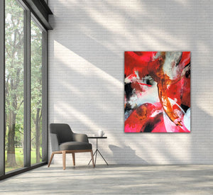 "Large abstract expressionist art in a modern garden room with armchair and tea table- modern artwork ""El Toro"". A modern acrylic painting by abstract artist Anja Stemmer. Visit my Picture Shop for affordable art online: Buy abstract paintings, modern acrylic paintings and works of abstract art on canvas or paper online. My high quality abstract art designs are hand painted."