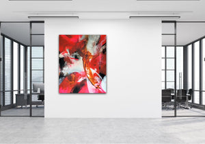 "Large and colorful abstract expressionist art in a design office floor- modern artwork ""El Toro"". A modern acrylic painting by abstract artist Anja Stemmer. Visit my Picture Shop for affordable art online: Buy abstract paintings, modern acrylic paintings and works of abstract art on canvas or paper online. My high quality abstract art designs are hand painted."