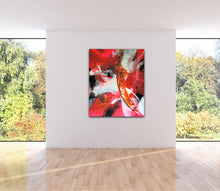 "Lade das Bild in den Galerie-Viewer, Large abstract expressionist art  in a garden room- modern artwork ""El Toro"". A modern acrylic painting by abstract artist Anja Stemmer. Visit my Picture Shop for affordable art online: Buy abstract paintings, modern acrylic paintings and works of abstract art on canvas or paper online. My high quality abstract art designs are hand painted."
