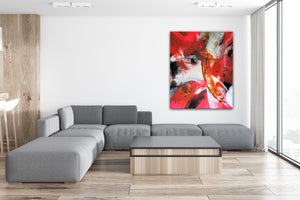 "Large colorful abstract expressionist art in a modern living room over lounge sofa in grey- modern artwork ""El Toro"". A modern acrylic painting by abstract artist Anja Stemmer. Visit my Picture Shop for affordable art online: Buy abstract paintings, modern acrylic paintings and works of abstract art on canvas or paper online. My high quality abstract art designs are hand painted."