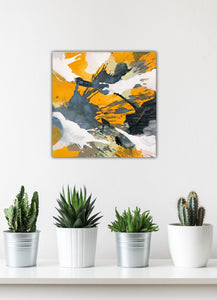 "Abstract expressionist art with some succulents in the foreground - modern artwork ""Stormy"". A modern acrylic painting by abstract artist Anja Stemmer. Visit my Picture Shop for affordable art online: Buy abstract paintings, modern acrylic paintings and works of abstract art on canvas or paper online. My high quality abstract art designs are hand painted."