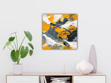 "Load image into Gallery viewer, Abstract expressionist art over a white modern sideboard with plants and vases- modern artwork ""Stormy"". A modern acrylic painting by abstract artist Anja Stemmer. Visit my Picture Shop for affordable art online: Buy abstract paintings, modern acrylic paintings and works of abstract art on canvas or paper online. My high quality abstract art designs are hand painted."