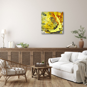 "Abstract expressionist art in a farmhouse style living room with white Ikea sofa- modern artwork ""Skyfall"". A modern acrylic painting by abstract artist Anja Stemmer. Visit my Picture Shop for affordable art online: Buy abstract paintings, modern acrylic paintings and works of abstract art on canvas or paper online. My high quality abstract art designs are hand painted."