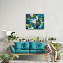 "Load image into Gallery viewer, Abstract expressionist artwork ""Aquamarine"" in a boho living room with teal couch and plants - modern artwork. A modern acrylic painting by abstract artist Anja Stemmer. Visit my Picture Shop for affordable art online: Buy abstract paintings, modern acrylic paintings and works of abstract art on canvas or paper online. My high quality abstract art designs are hand painted."