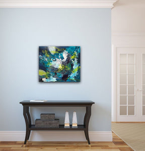 "Abstract expressionist artwork ""Aquamarine"" on a light blue wall above a traditional open sideboard in the entrance hall- modern artwork. A modern acrylic painting by abstract artist Anja Stemmer. Visit my Picture Shop for affordable art online: Buy abstract paintings, modern acrylic paintings and works of abstract art on canvas or paper online. My high quality abstract art designs are hand painted."
