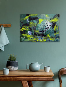 "Abstract expressionist art on a turquoise wall  - modern artwork. ""Under Water"" A modern acrylic painting by abstract artist Anja Stemmer. Visit my Picture Shop for affordable art online: Buy abstract paintings, modern acrylic paintings and works of abstract art on canvas or paper online. My high quality abstract art designs are hand painted."