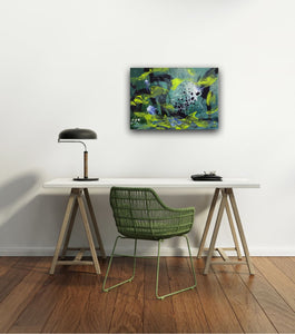 "Abstract expressionist art in a home office setting- modern artwork. ""Under Water"" A modern acrylic painting by abstract artist Anja Stemmer. Visit my Picture Shop for affordable art online: Buy abstract paintings, modern acrylic paintings and works of abstract art on canvas or paper online. My high quality abstract art designs are hand painted."