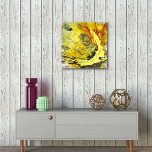 "Abstract expressionist art with shabby chic walls and contemporary sideboard - modern artwork ""Skyfall"". A modern acrylic painting by abstract artist Anja Stemmer. Visit my Picture Shop for affordable art online: Buy abstract paintings, modern acrylic paintings and works of abstract art on canvas or paper online. My high quality abstract art designs are hand painted."