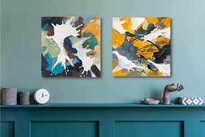 "Abstract expressionist artworks on a turquoise wall- modern artworks ""In Twos"" and ""Stormy"". A modern acrylic painting by abstract artist Anja Stemmer. Visit my Picture Shop for affordable art online: Buy abstract paintings, modern acrylic paintings and works of abstract art on canvas or paper online. My high quality abstract art designs are hand painted."