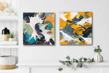 "Load image into Gallery viewer, Abstract expressionist art next to a kitchen shelf- modern artwork ""Stormy"" and ""in Twos"" from the same series. A modern acrylic painting by abstract artist Anja Stemmer. Visit my Picture Shop for affordable art online: Buy abstract paintings, modern acrylic paintings and works of abstract art on canvas or paper online. My high quality abstract art designs are hand painted."
