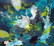 "Load image into Gallery viewer, Abstract expressionist artwork ""Aquamarine"" with blue ad teal colors and white splashes - modern artwork. A modern acrylic painting by abstract artist Anja Stemmer. Visit my Picture Shop for affordable art online: Buy abstract paintings, modern acrylic paintings and works of abstract art on canvas or paper online. My high quality abstract art designs are hand painted."