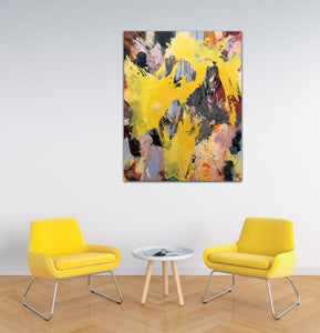 "Abstract expressionist art in a living room with two yellow charis- modern artwork ""Flashlight"". A modern acrylic painting by abstract artist Anja Stemmer. Visit my Picture Shop for affordable art online: Buy abstract paintings, modern acrylic paintings and works of abstract art on canvas or paper online. My high quality abstract art designs are hand painted."