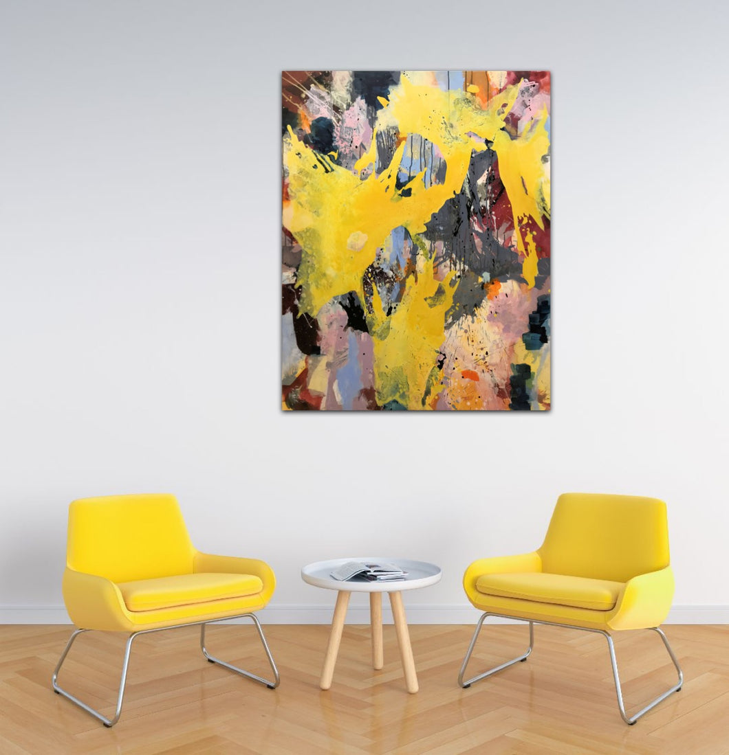 Abstract expressionist art in a living room with two yellow charis- modern artwork
