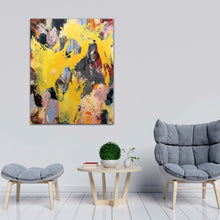 "Load image into Gallery viewer, Abstract expressionist art  with two grey chairs and a table - modern artwork ""Flashlight"". A modern acrylic painting by abstract artist Anja Stemmer. Visit my Picture Shop for affordable art online: Buy abstract paintings, modern acrylic paintings and works of abstract art on canvas or paper online. My high quality abstract art designs are hand painted."